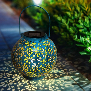 Creative Solar LED Iron Art Hollow Lantern Light Outdoor Decorative Lighting Handheld Hanging Lamp for Garden Yard Pathway