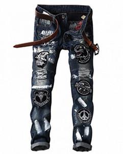 Recta patrón Slim Fit LAMCORD Hombres de Patch Denim Jeans eje de balancín punky del motorista Cl8b #