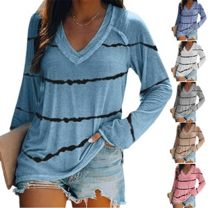 2020 new for autumn winter women Loose Stripe print V - neck long sleeve S to 5XL size multiple color for options