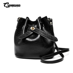 Luxury Retro Crocodile pattern Bucket Bag Simple Fashion Genuine Leather Shoulder Bag Cowhide Metal Buckle Women's Messenger