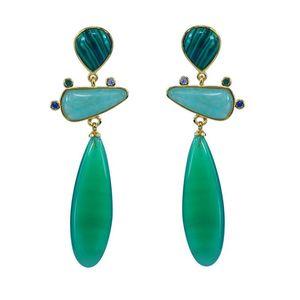 Moonstone Amazonite emerald natural stone silver 925 needle earrings long for women geometric drop earring party jewelry