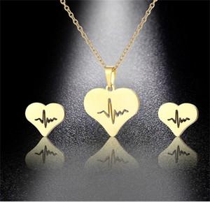 Uomo Donna Collana Collana Earring Suit Gioielli Amore Amore a forma di cuore Placcato Gold Catena d'oro orecchini Due pezzi Set 2 85mm J2