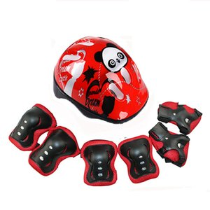 New beautiful 7 parts   skating assembly protective equipment set helmet bent knee bicycle ice cream roller protection child safety roller