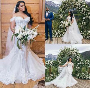 2021 Mermaid Off Shoulder Wedding Dresses Appliques Lace Wedding Gown with Tulle Sweep Train Vestidos De Novia