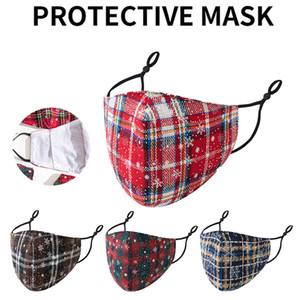 Máscaras Xmas algodão estampado festa de Natal Adulto Moda Anti Poeira Snowflake Christmas Boca lavável reutilizável para Homens Mulheres