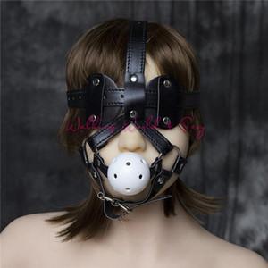 Spielzeug für Gag Paare Blindfold Leder Maske für Erwachsene Bondage Mund Ball Gag Harness Slave Gag Sex Fetisch Sex mit Flirten Cosplay S924 Um NWEN