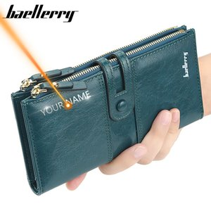 2020 Name Engrave Wallets Fashion Long Leather Top Quality Card Holder Classic Female Purse Zipper Brand Wallet For Women Q1110
