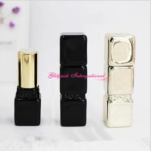 컨테이너 높은 수준의 화려한 포장 100PCS 12.1mm 블랙 컬러 빈 키스 립스틱 광택 고급 큐브 DIY 립글로스
