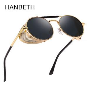 Ретро Круглые Steampunk Солнцезащитные очки Женщины Side Shield очки Классические очки Мужчины металлический каркас зеркало объектива Солнцезащитные очки