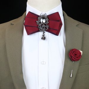 Free Shipping new MEN's male Handmade Diamond men and women bow tie wedding groom groomsmen dress Korean version 2 pieces set