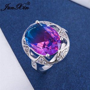 Mystic Gradient Blue Green Pink Zircon Big Oval Stone Rings For Women White Gold Colorful Rainbow Crystal Wedding Bands Jewelry