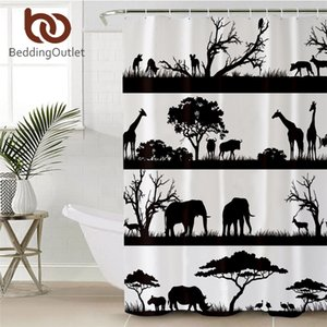 BeddingOutlet Elephant Shower Curtain African Animal Bath Curtain Giraffe Deer Trees Bathroom Curtain With Hooks 180x200cm Towel