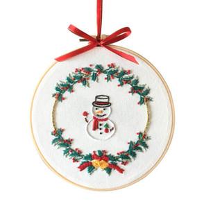 Hot Accueil Noël DIY broderie Starter Kit avec motif de Noël broderie Hoop thème coton toile de lin fil à coudre Artisanat Needlework
