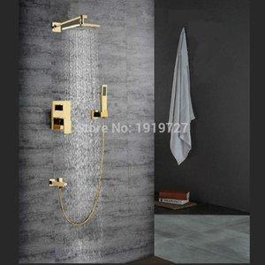 Bagnolux Fabrik Großhandel Gold 8 Platz Bath 100 Messinghahn Set Brause-Wand-Umsteller Regen Mixer Badezimmer-Hahn bbyheB