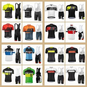 Scott Team Men Cycling Jersey Bib Shorts Suit Summer Quick Dry Short Sleeve Bicycle Outfits Road Bike Clothing Outdoor Sportswear Y07120