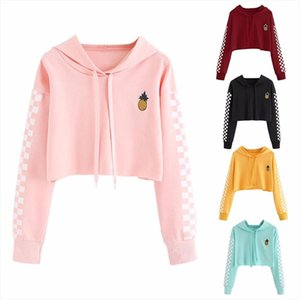 2020 New Fashion Woman Clothes Womens Crop Tops Sweatshirt Pineapple Embroidery Gingham Plaid Hoodies Pullover Drop Shipping
