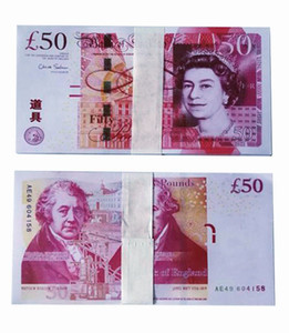 UK Pound Falso denaro 50 sterline Riproduci film Shooting Puntelli GBP Faux Billet Valuta 100pcs / Pack