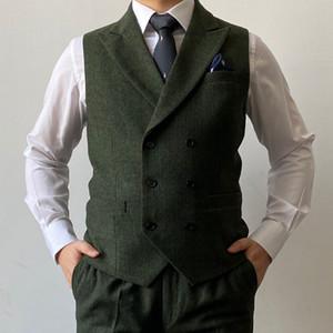 2021 Bristish Green Groom Жилеты Двухбордовые Коричневые Шерсти Earrdbone Tweed Groomsmen Жилет Мужской Костюм выпускного Свадьба Жилетнее Платье Наряд