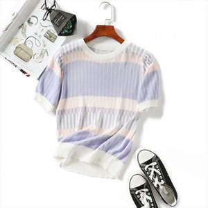 Summer women T shirt Tencel Knitted short sleeves ruffles O neck Pullovers Jumper Computer Knitted Sweaters Multicolor Drop Shipping