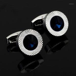 Cuffs Link and Take Clip Set Ensembles Haut-Ents Mode Chemises Hommes Boutons de manchette Design de luxe Argent Crystal Bleu Crystal Cufflinks1