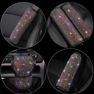 Colorful Rhinestone Crystal Handbrake Cove Car Interior Accessories Auto Seat Belt Cover Car Accessories