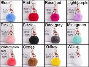 12 Styles Fashion Christmas Santa Claus Keychains Fur Ball Keyrings Plush Pendant Bag Car Ornaments Charm Key Rings Christmas Gift
