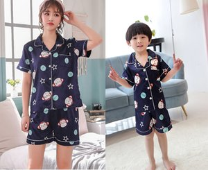 Summer Family Matching Outfits 2-11T Kids & Mother Silk-Like Home Wear Boys & Girls Cartoon Designer Pajamas Sets Tops+Pants=2PCS Set