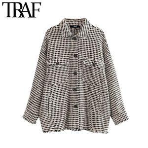 TRAF donne Vintage Elegante Logoro nappa oversize Tweed Plaid cappotto del rivestimento manica lunga Moda Tasche Outerwear Chic Tops