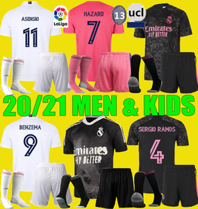 Hommes Enfants 2020 2021 Jersey de football Real Madrid Quatrième danger Asensio Sergio Ramos 4ème Kits 20 21 Vini Benzema Shirts Football Set Uniformes