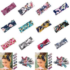 Bandas de 12 estilos de yoga del deporte de las mujeres del pelo 8 * 24cm Charm Cruz floral Hairband Impreso venda del nudo del borde ancho de pelo accesorios CYZ2845