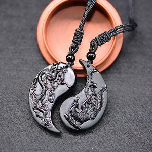 1 Set Obsidian Carving Dragon and Phoenix Necklace Pendant YIN YANG Pendant Necklace Obsidian Lucky Pendants