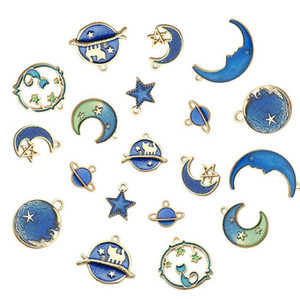 Enamel Charms Moon Star Planet Exquisite Blue Pendant Set For Jewlery Making DIY Bracelet Earrings Necklace Girls ps1315