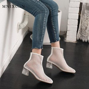 MNIXUAN women gladiator sandals ladies knee high Festival Boots 2020 spring new mesh transparent crystal shoes white big size 46