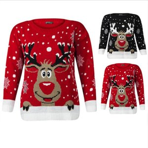 Women Christmas Deer Warm Knitted Long Sleeve Sweater Jumper Tops O-Neck Casual Ugly Blouse Christmas Sweater