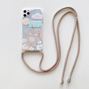 IPhone 11 concepteur pro cas mode phonecase phonecase ballon Nuage Ours avec étui de téléphone corde pour IPhone 11Pro / MAX / XS