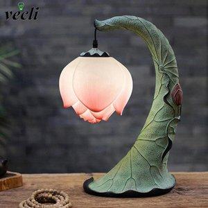 Yeni Modern Reçine Masa Lambası Lotus LED Gece Işıkları Ev Dekor Masası Işıkları Çalışma Başucu Lambası E27 Işık Armatürleri # GL6I