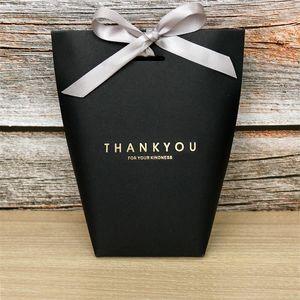 Merci cadeau wrap sac kraft papier noir blanc 3 couleurs candy bijoux jouet boîte d'emballage du festival présentement sac de rangement de haute qualité 0 59ly l2