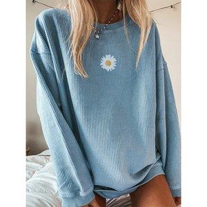 Herbst Daisy gedruckt Pullover Sweatshirts Frauen O-Ausschnitt Langarm Street lose Aufmaß Sweatshirt Sweatshirt Weibliche 201008