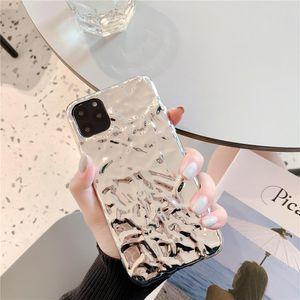 아이폰에 대한 3D 드림 쉘 도금 실버 골드 포일 전화 케이스 XS (11) (12) 미니 프로 맥스 XR X 6S 7 8 플러스 SE2 반짝이 소프트 뒤 표지