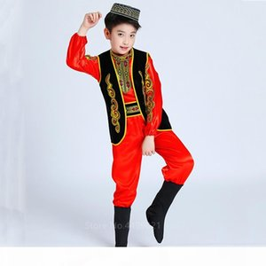 Çocuk Uygur Dans Kostümleri Kazak Çocuk Halk Elbise Bebek Kız Erkek Xinjiang Çin Yangko Performans Giyim Azınlık Kıyafetleri