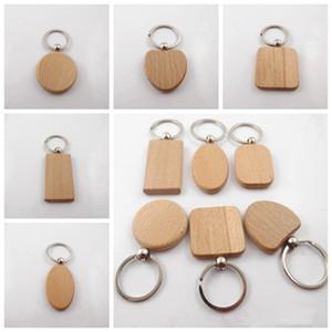 Творческий DIY Деревянные брелок брелки Круглая площадь прямоугольника Форма Blank Wood Кольца для ключей Брелоки Подарки Party Favor 13styles RRA3793