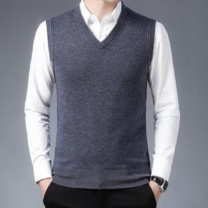 Man Pure 100% Wool Sweater Casual cor sólida Cashmere Vest V-Neck Male Jumper malha Vestuário Pullovers