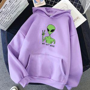 Alien NOUS ICI OUT Imprimer vêtements trop grands T-Shirt Femme Kawaii Sweat à capuche lui-même style coréen Full manches en tête 201019