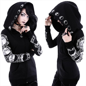 Moon Print Women Black Hoodie Oversize Coat Plus Size S 5XL Hooded Streetwear Top Streetwear Gothic Punk Couple Hoodies