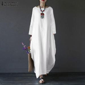 Zanzea Femmes Coton Draps Sundress Casual Vintage Vintage Maxi Longue Robe à manches longues Robe Robe Femme Kaftan Vestiso Plus Taille