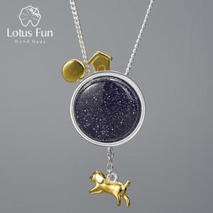 Köpek Kolye 1027 olmadan Toprak kolye Escape From Lotus Fun Gerçek 925 Gümüş Doğal Taş El Yapımı Güzel Takı