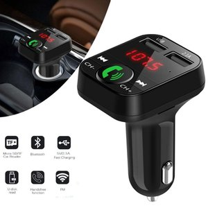 B2 Usb Charger Car Fm Transmitter Wireless Radio Adapter Dual Bluetooth Mp3 Player Support Handsfree Call Connect Two Phones