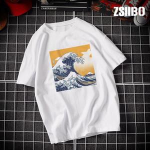 kadınlar NbSIY için Zsiibo tişört yaz 2019 yeni Ukiyoe Alacakaranlık dalga baskı yuvarlak boyun kısa kollu tişört