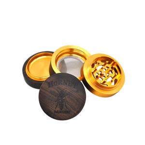 Hornet el yapımı ahşap değirmeni 60mm 4 katmanlar bitki değirmeni alüminyum keskin elmas tütün bitkisel değirmeni LLA1135