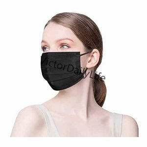 Free Shipping Disposable face masks adult masks black mask 3 Layer balck Dust Mouth Masks Cover 3-Ply Non-woven